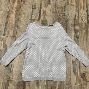 LOFT Cozy Gray & White Polkadot Sweater Light XL